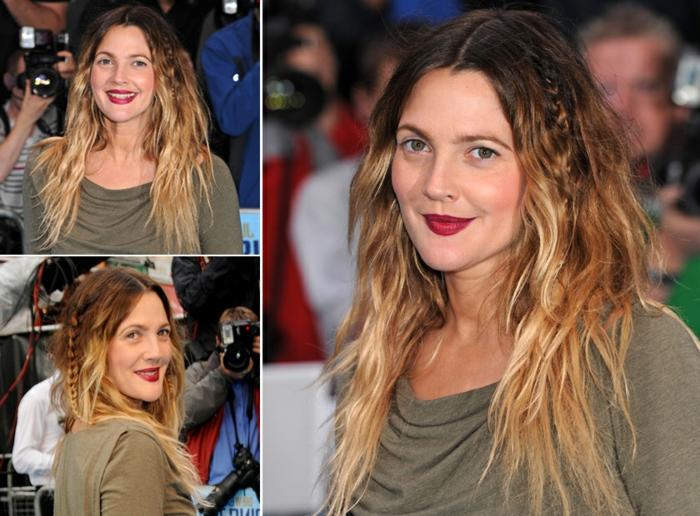 tie and dye brune, cheveux longs légèrement bouclés, la coiffure de Drew Barrymore