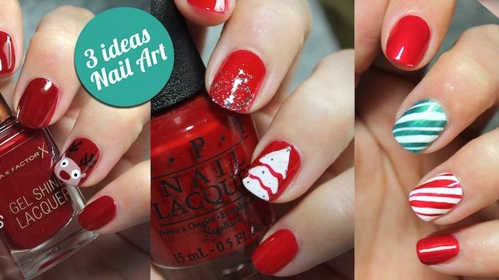 nail art noel simple, vernis à ongles rouge, blanc et vert, motif rudolphe le renne, sapin de noel blanc et canne de bonbons