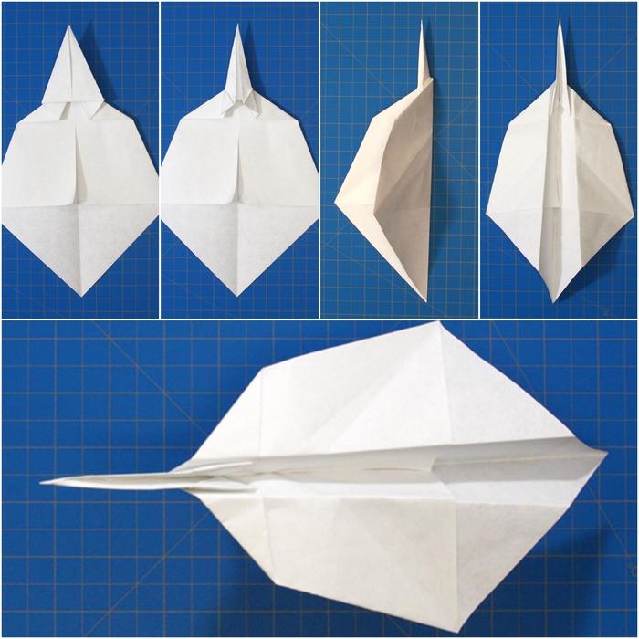 tuto origami avion en papier qui vole, modèle original et facile à reproduire