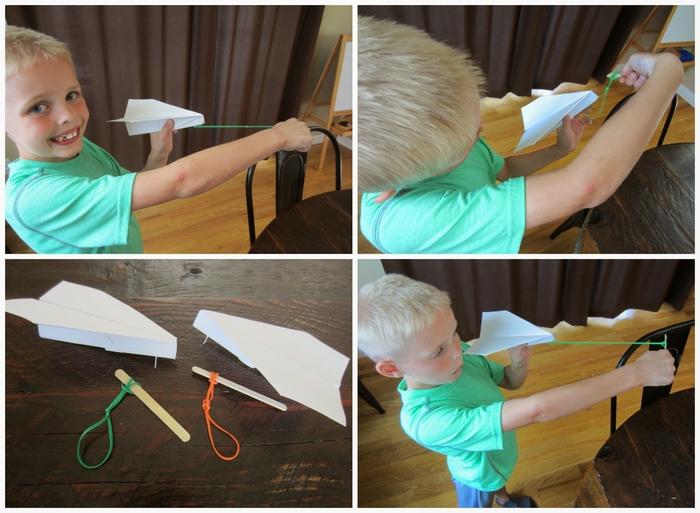 comment réaliser un avion en papier qui vole, avion origami facile propulsé par un lanceur diy en élastique