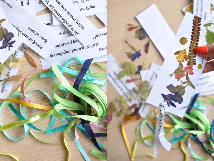 activité manuelle printemps sur thème nature et littérature pour réaliser des marque-pages originaux à fleurs séchées et citations inspirantes