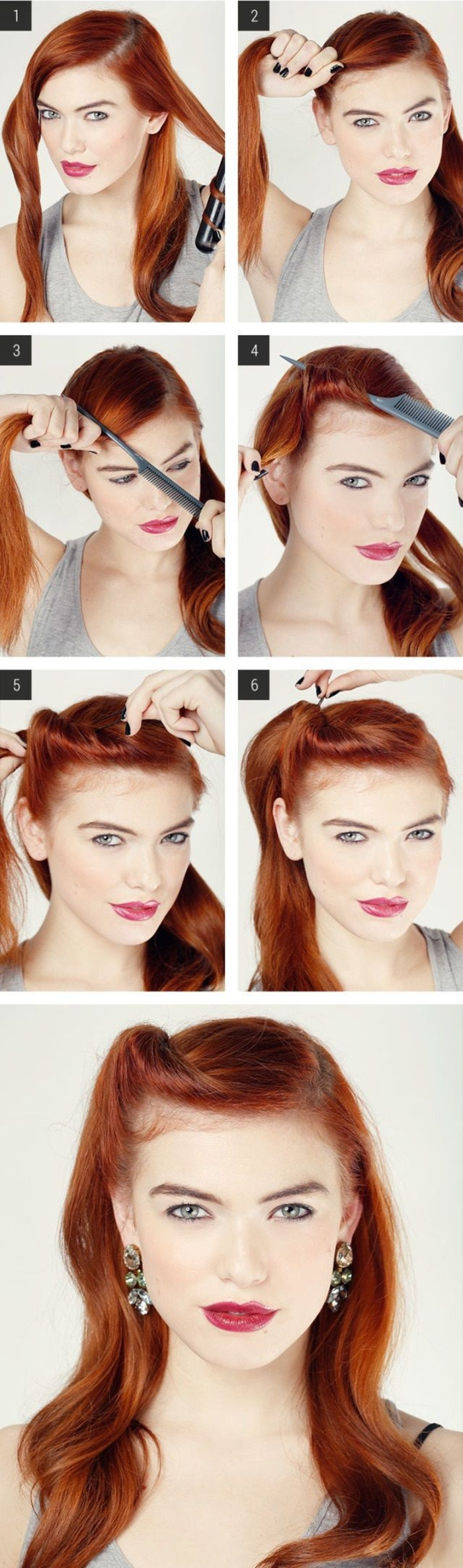 twist moderne de la coiffure pin up avec un simple coque réalisé de côté qui sublime les cheveux roux