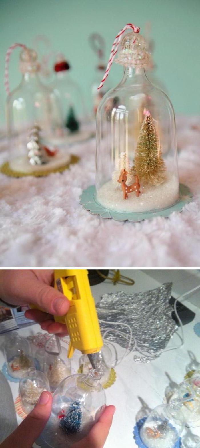 fabriquer une boule à neige, diy facile pour fabriquer une cloche en verre miniature à suspendre au sapin de noël, réalisée à partir de verre de vin plastique