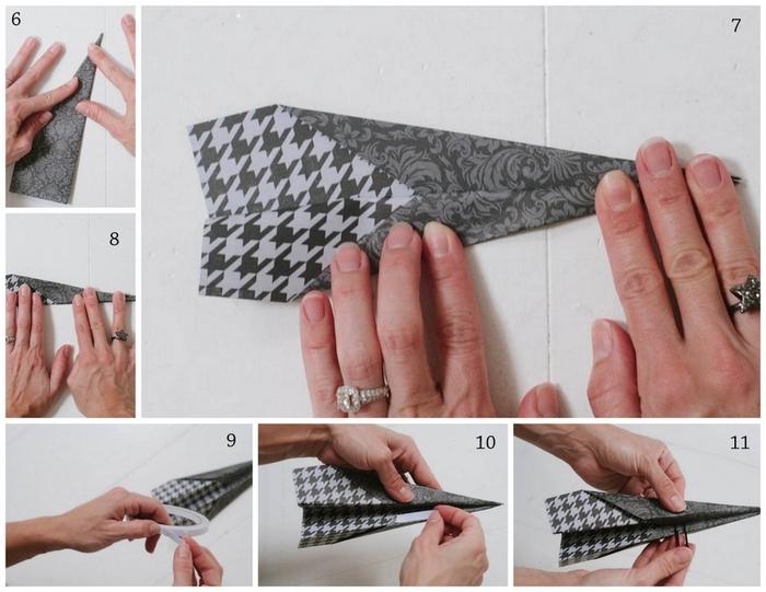 que faire avec un origami avion, décoration de fête originale avec des suspensions en avions origami
