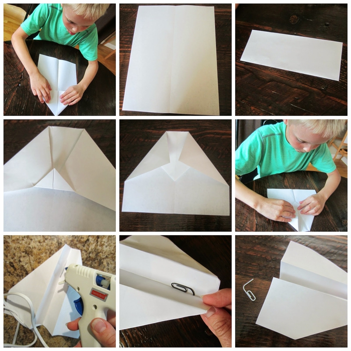 activité manuelle amusante avec pliage d un origami avion et la fabrication d un lanceur d avions en élastique
