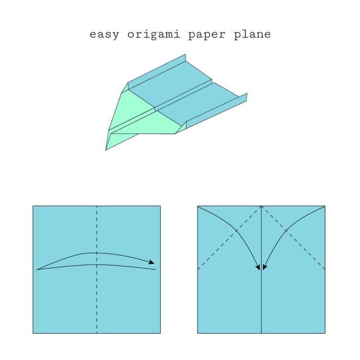 schéma de pliage origami pour faire un avion qui vole