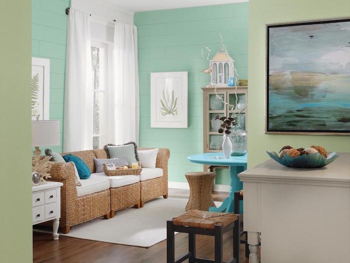 décoration vert turquoise rideaux blancs