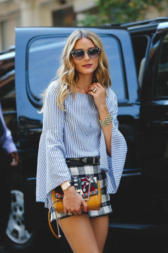 vetement swag Olivia Palermo, sac intéressant bimatière, chemise à rayures verticlaes