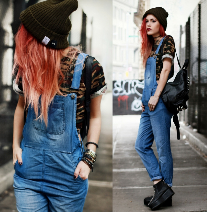vetement swag, bottes grunge, salopette en denim, bonnet tricoté, top style military