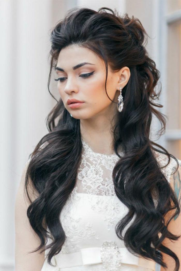 Maquillage et coiffure mariée coiffure mariée princesse cool idée demi bun cool coiffure