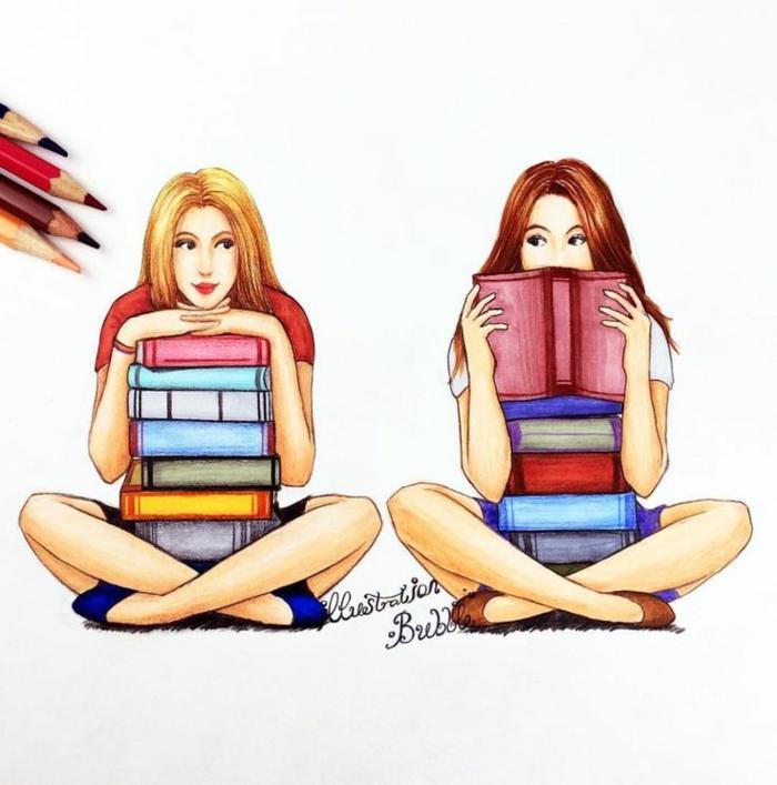 Deux amies qui aiment lire ensemble dessin mignon dessiner deux filles dessin coloré