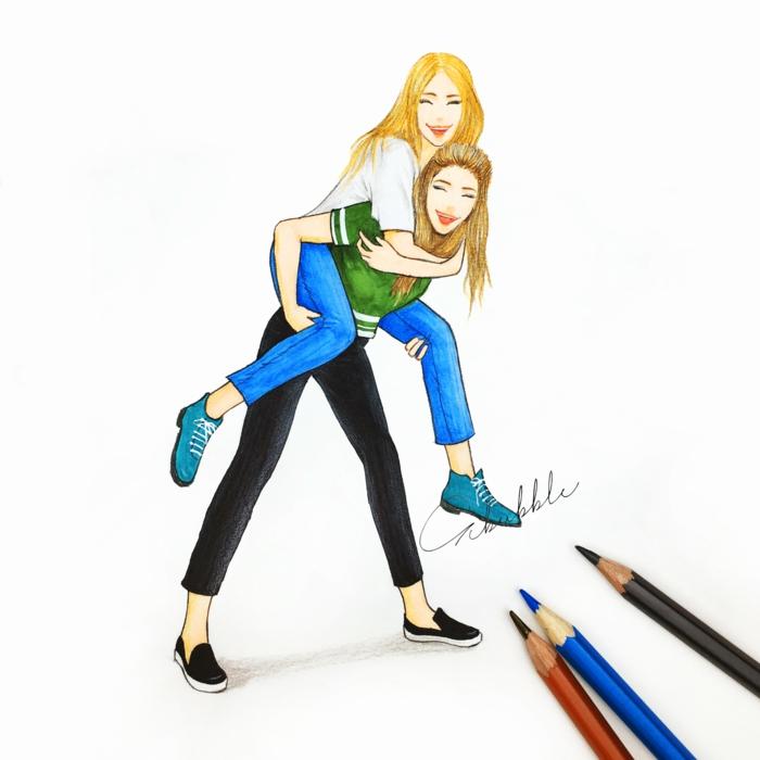 Belle image amie pour la vie meilleure ami dessin deux amies amusement