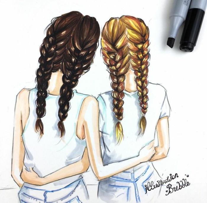 Joli dessin pour meilleure amie image de meilleur amie tresse cheveux dessin