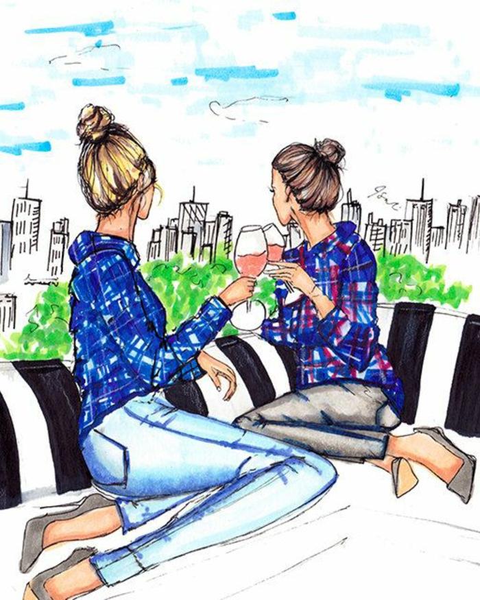 Deux meilleures amies dessin pour sa meilleure amie de photo à new york