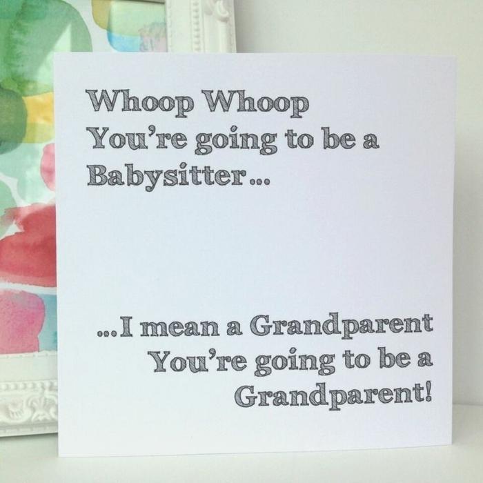 faire-part bébé humouristique à offrir à ses parents, idée sympa avec un texte rigolo