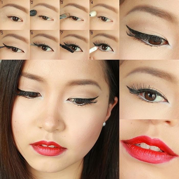 tutoriel pour se maquiller les yeux avec fards à paupières nude et eye-liner noir, maquillage avec rouge à lèvres rouge