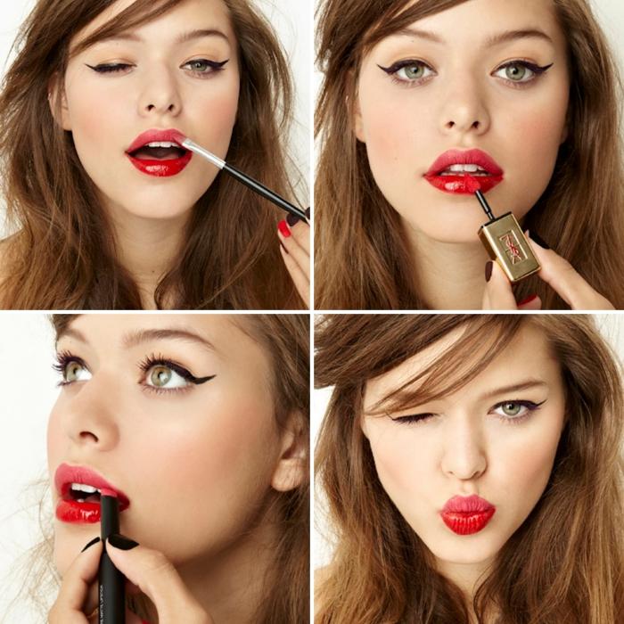 maquillage pour yeux vert, tutoriel avec photo pour se maquiller les lèvres, coupe de cheveux en couche et frange sur le côté
