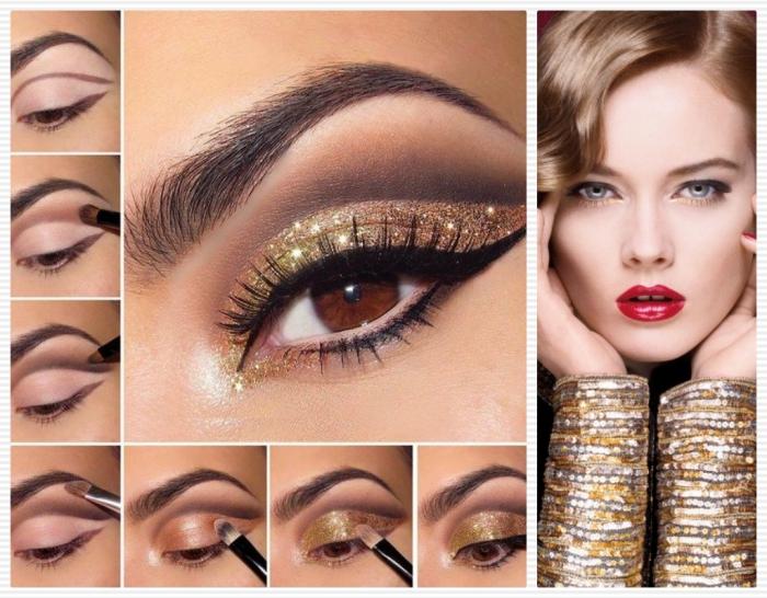 rouge a levre foncé, maquillage des yeux marron avec eye-liner noir et fards dorés et marron