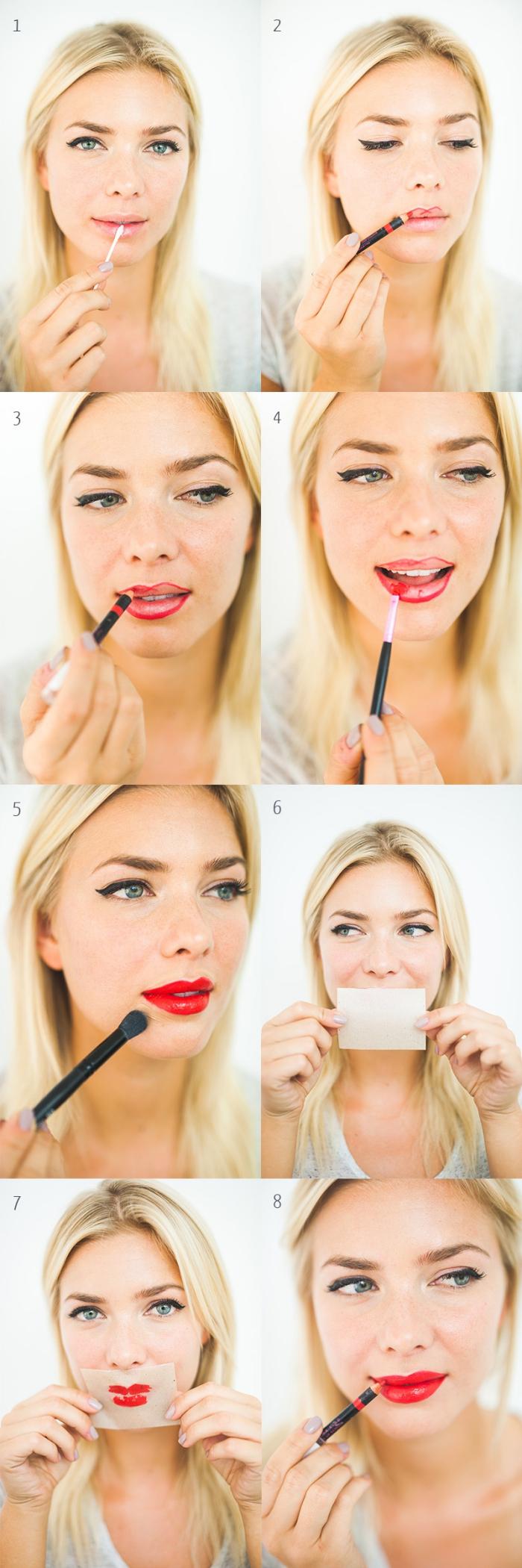 rouge a levre rouge, tutoriel pour apprendre à appliquer son rouge à lèvres avec pinceau et crayon