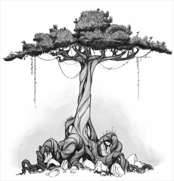 comment dessiner un arbre de vie, apprendre a dessiner un arbre de vie cool
