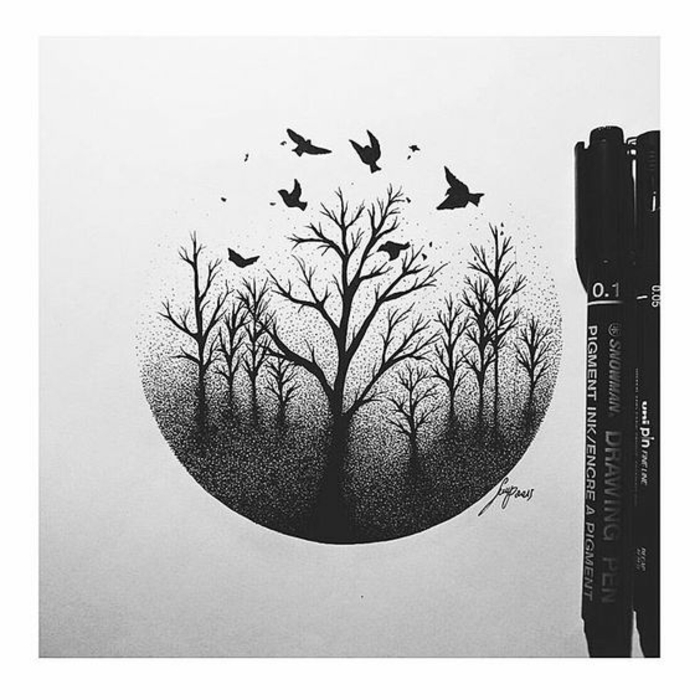 Branche d arbre dessin comment dessiner un arbre idée cercle ombres