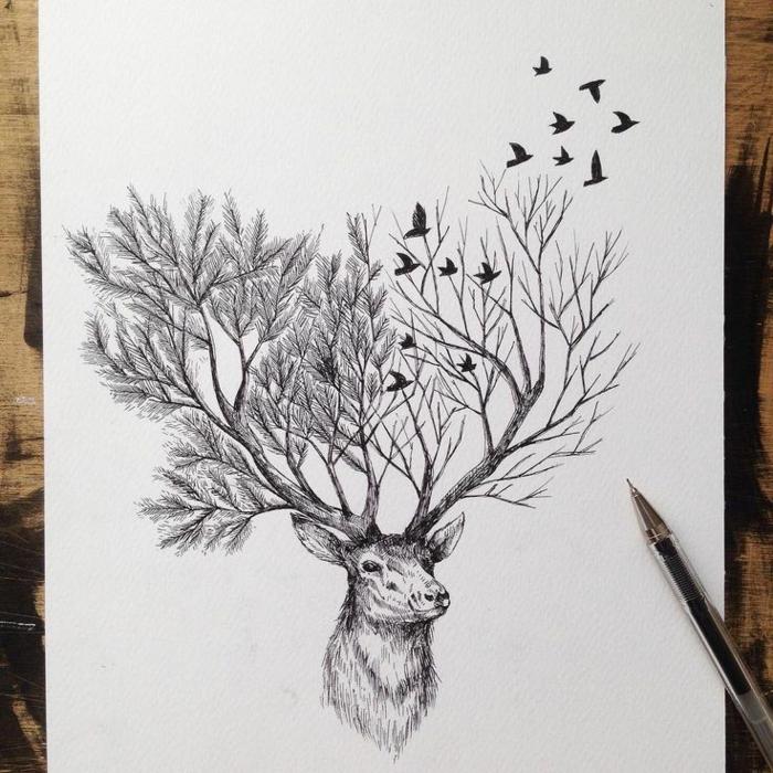 1001 id es pour dessiner un arbre merveilleux avec exemples - Dessiner un cerf ...