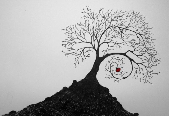 Dessin arbre printemps branche arbre dessin dessins d arbre branches pomme rouge