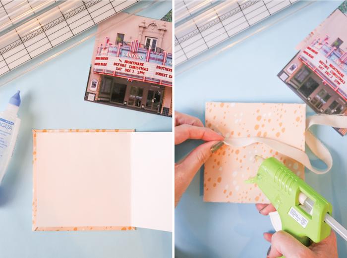 attachez les couvertures au papier, tuto pour réaliser un cadeau fait main, album scrapbooking réalisation étape par étape