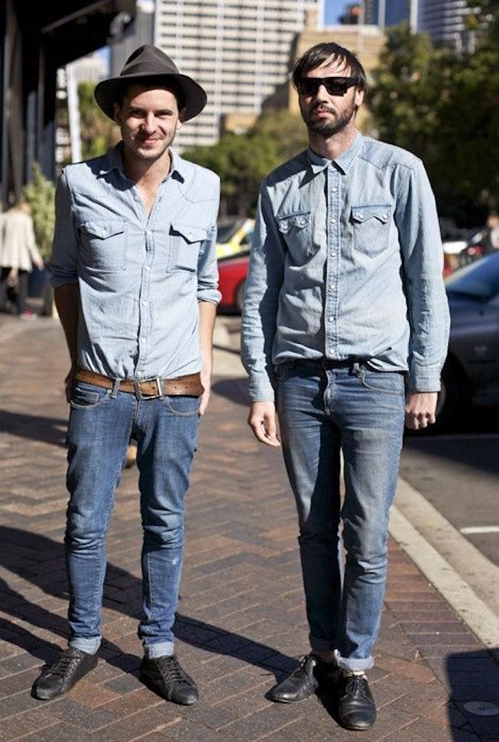 style hipster tenue chemise denim homme delave vintage