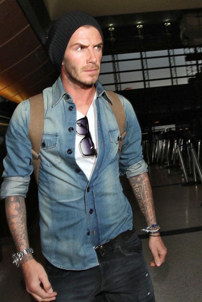 tenue david beckham style denim jeans brut tee shirt blanc