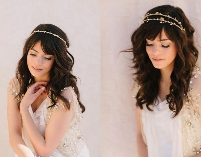 coiffure bohème, modèle de robe de mariée blanche avec gilet en manches courtes et coiffure en boucles