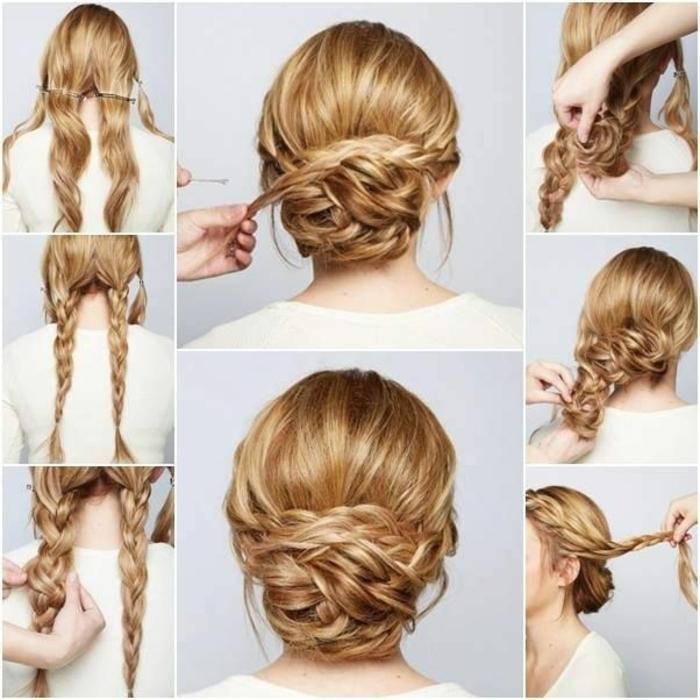 Etapes coiffure mariée bohème chignon de tresse coiffure de mariée cheveux longs pas a pas