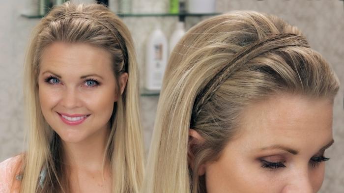modèle de coiffure facile pour cheveux raids avec tresses artificielle et volume sur le haut de la tête