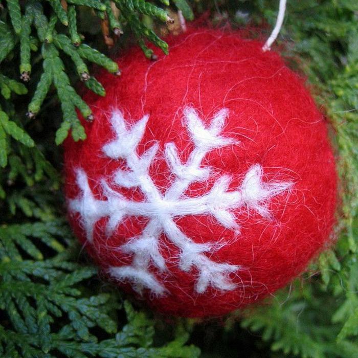 boule de noel à accrocher au sapin de noel décorée de flocon de neige
