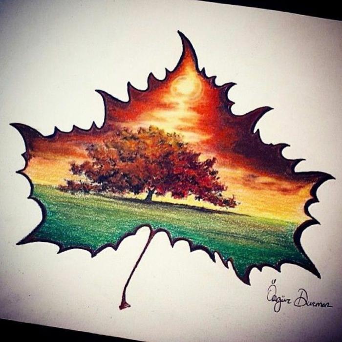 Feuille d'automne silhouette et paysage automne dedans cool image dessin crayon coloré