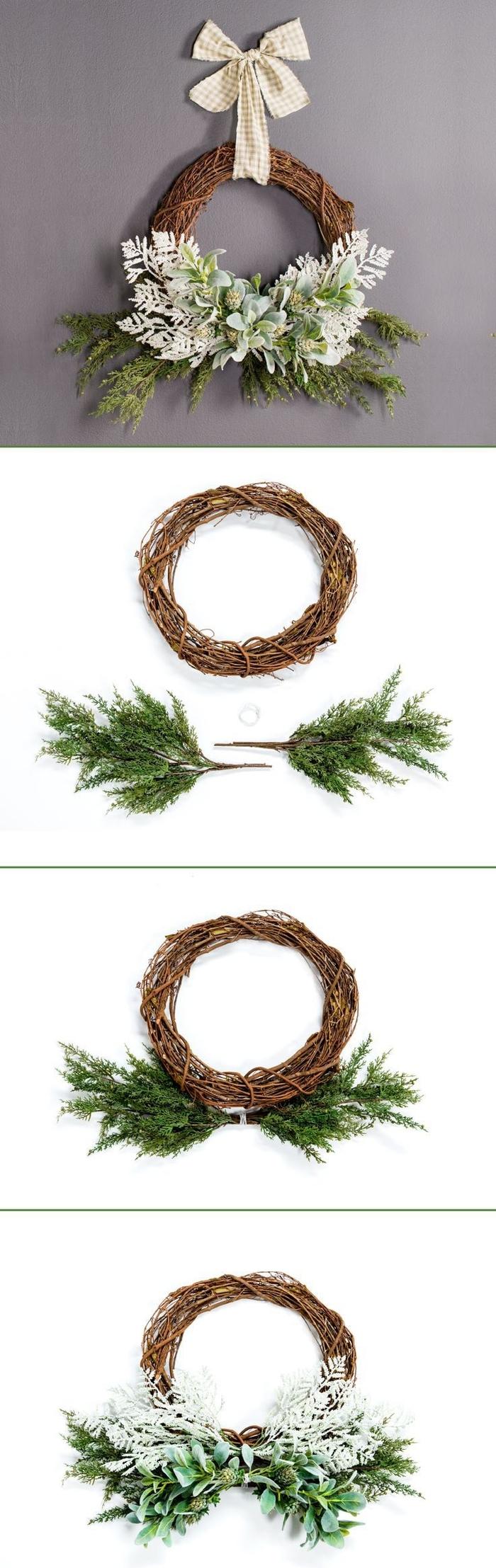 projet diy noel pour fabriquer une couronne de porte d'entrée rustique en branchage décorée de feuillage et d'un ruban écru