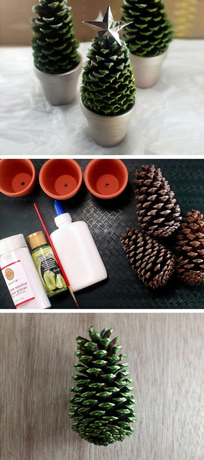 décoration de noel à faire soi même avec trois pomme de pin, peintes avec de la peinture vert métallique, avec des étoiles argentées au sommet, mis dans trois pots en céramique terre cuite