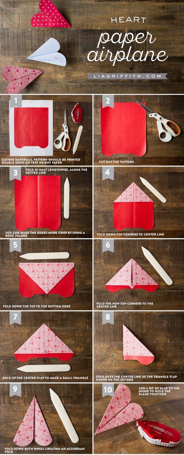 tuto de pliage origami avion en forme de coeur avec un gabarit à télécharger, idée pour une carte saint-valentin originale à réaliser soi-même