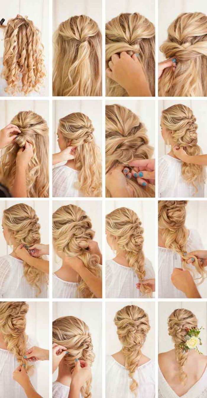Coiffure de mariée cheveux longs bouclés coiffure mariée cheveux fins tresse ondulé