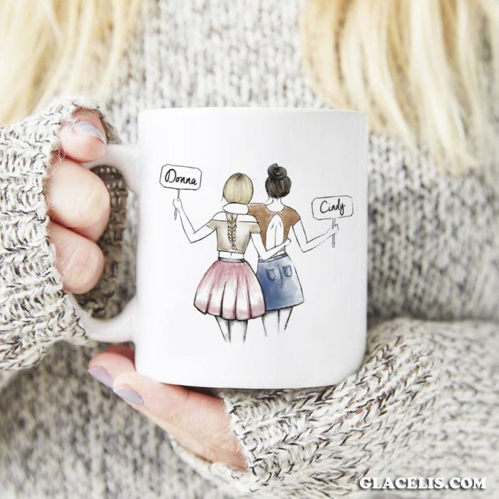 La plus belle image pour sa meilleure amie idée dessin cadeau tasse avec photo de dessin de moi et ma meilleure amie