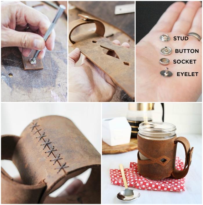 un cadeau pour homme original à faire soi même, manchon en cuir de tasse à café avec poignée et des motifs découpés
