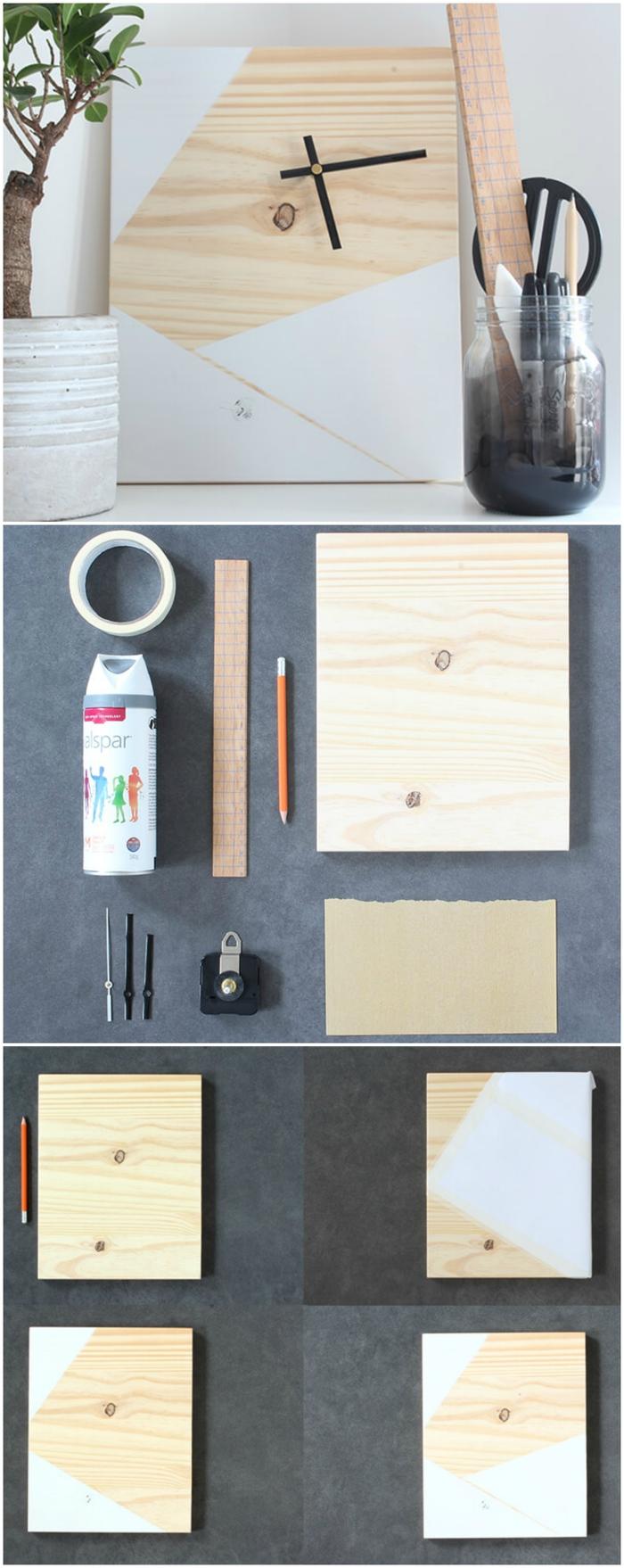 une idée cadeau homme pour ceux qui apprécient la jolie déco, comment réaliser un horloge en bois à motifs géométriques en peinture