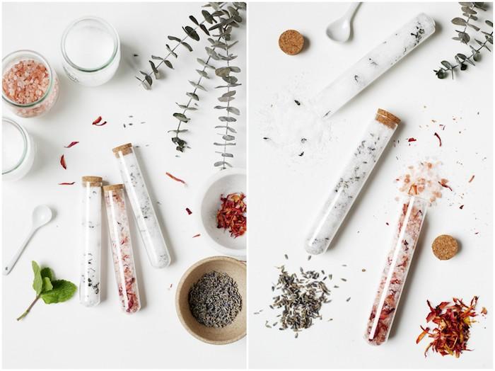 exemple de cadeau fait main, des sels e bain naturels de sel d epsom, sel de met et ingrédients naturels, pétales e fleurs, lavande, menthe eucalyptus