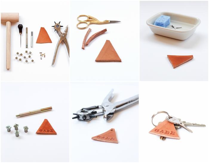 le cadeau de noel à faire soi même que chaque homme va apprécier, porte-clé triangle personnalisé en cuir