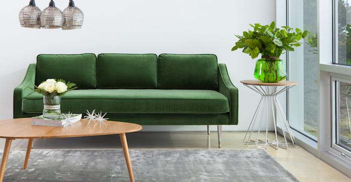 canapé pas cher couleur verte dans un salon zen, tapis gris, plantes et fleurs décoratives, suspensions originales, table basse en bois