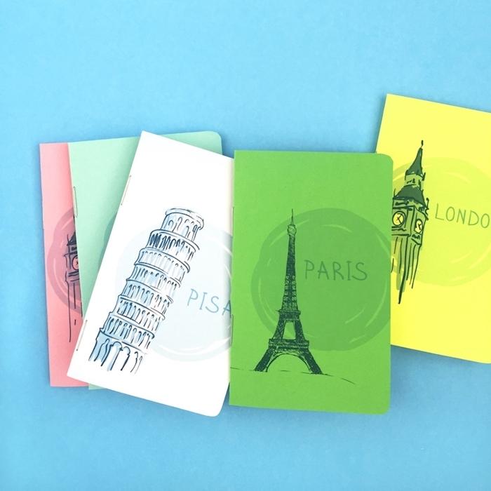 carnet de voyage dédié à une destination particulière, londres, paris, pisa, diy cadeau pour les amateurs des voyages