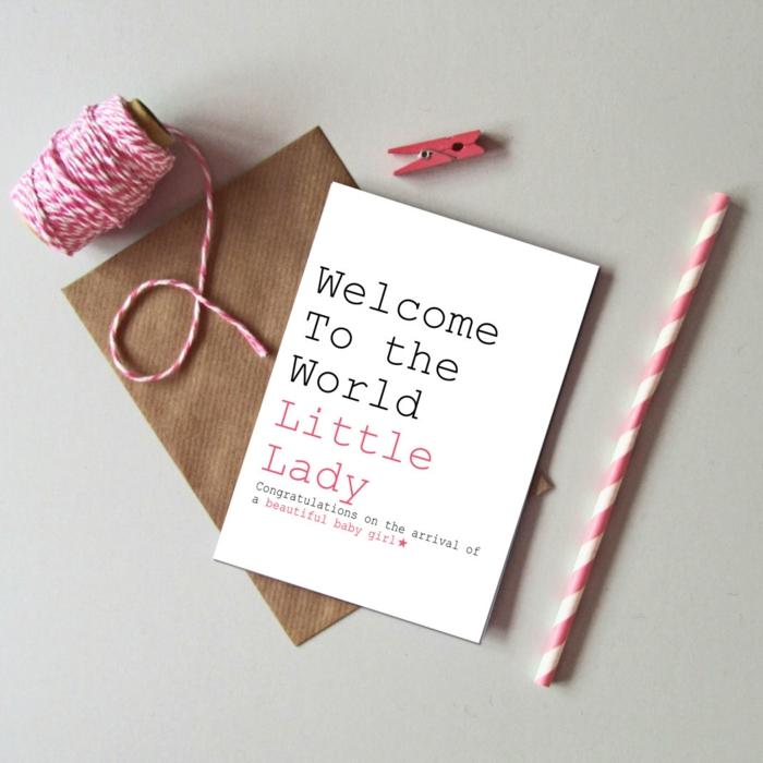 carte bienvenue petite fille à faire soi-même, création artistique avec papier et imprimante