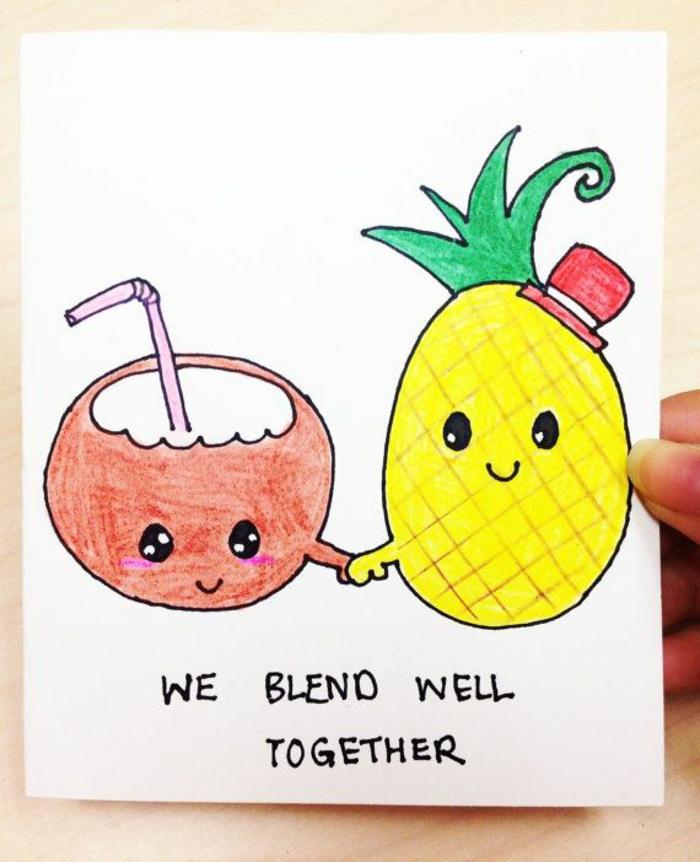 Adorable dessin d amie crayon dessin coloré carte de voeux meilleure amie