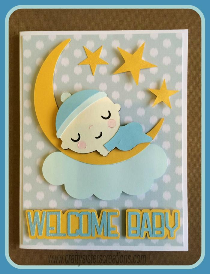 bienvenu le petit, un garçon qui dort sur le la lune avec les étoiles autour