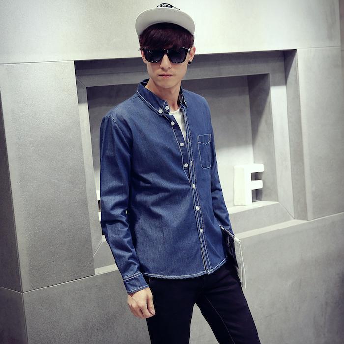chemise homme bleu brut jean coupe droite
